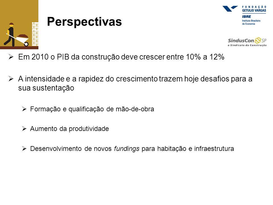 Perspectivas Em 2010 o PIB da construção deve crescer entre 10% a 12%