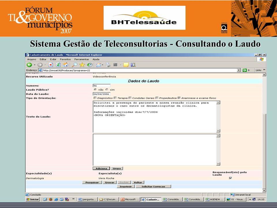 Sistema Gestão de Teleconsultorias - Consultando o Laudo