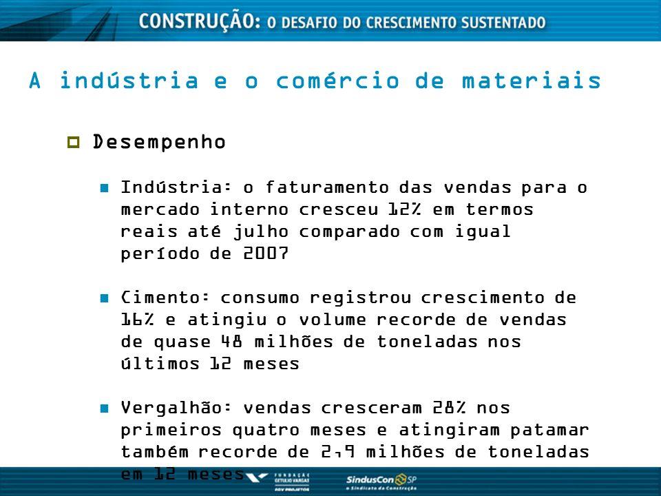 A indústria e o comércio de materiais