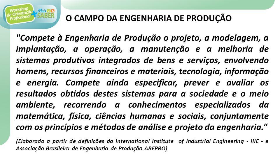O CAMPO DA ENGENHARIA DE PRODUÇÃO