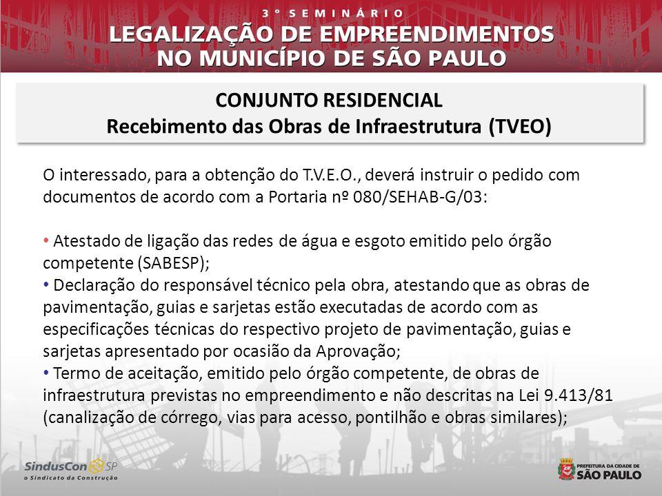 Recebimento das Obras de Infraestrutura (TVEO)