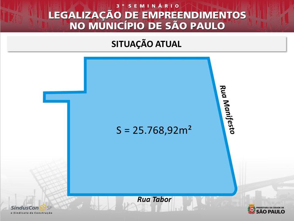SITUAÇÃO ATUAL Rua Manifesto S = 25.768,92m² Rua Tabor