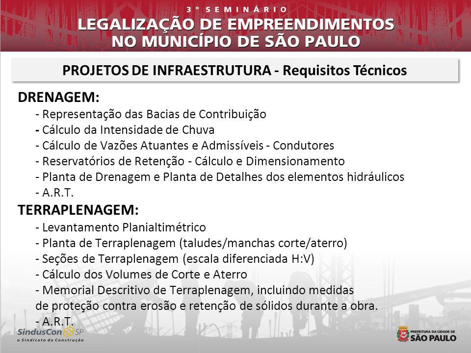 PROJETOS DE INFRAESTRUTURA - Requisitos Técnicos