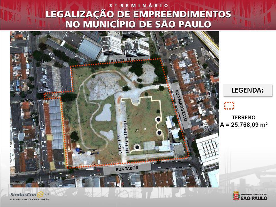 LEGENDA: RUA MANIFESTO TERRENO A = 25.768,09 m² RUA TABOR 4