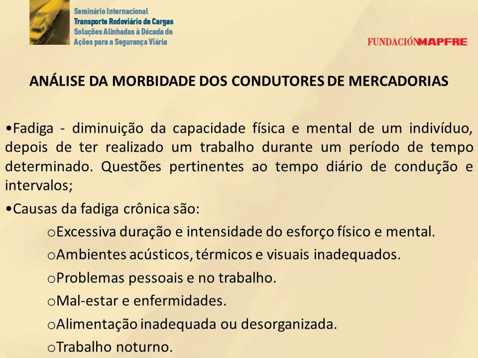 ANÁLISE DA MORBIDADE DOS CONDUTORES DE MERCADORIAS