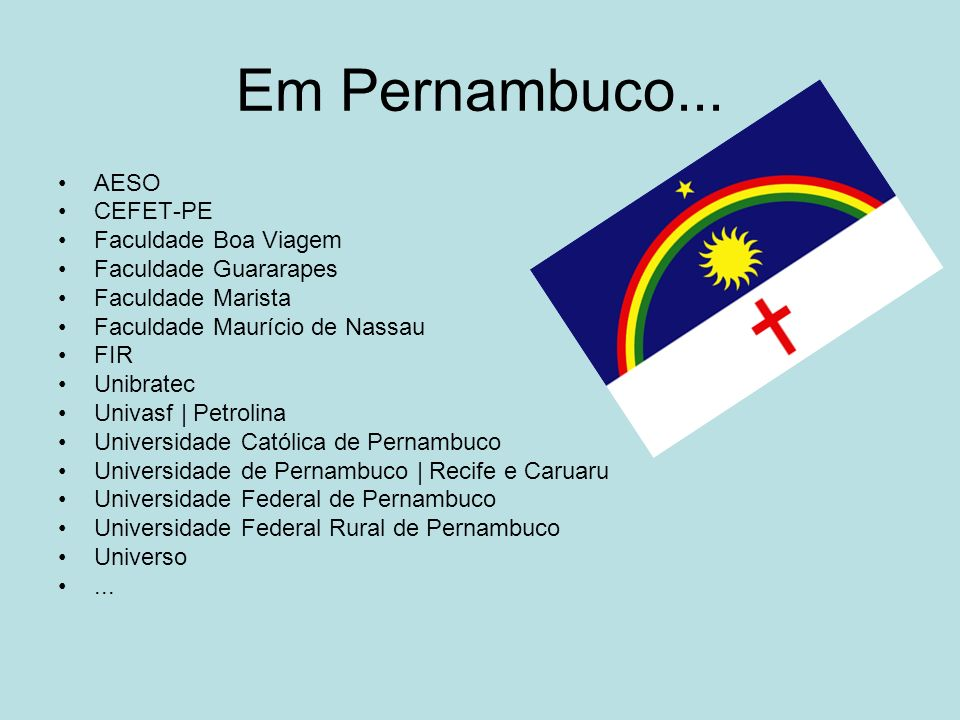 Em Pernambuco... AESO CEFET-PE Faculdade Boa Viagem