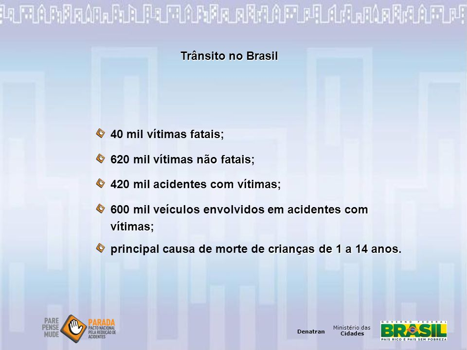 Trânsito no Brasil 40 mil vítimas fatais; 620 mil vítimas não fatais; 420 mil acidentes com vítimas;
