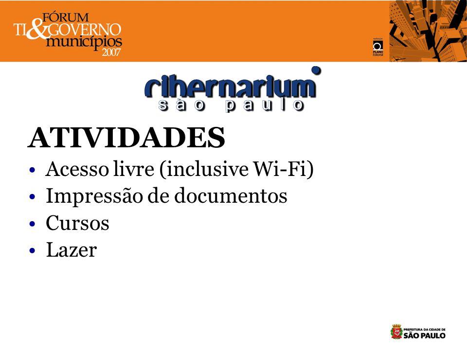 ATIVIDADES Acesso livre (inclusive Wi-Fi) Impressão de documentos