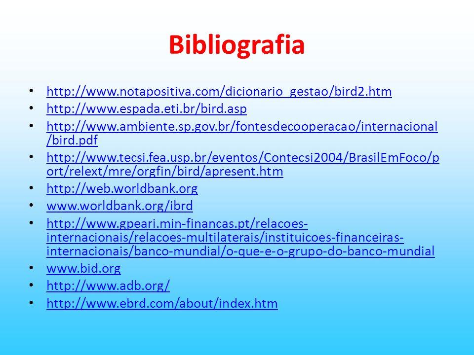 Bibliografia http://www.notapositiva.com/dicionario_gestao/bird2.htm