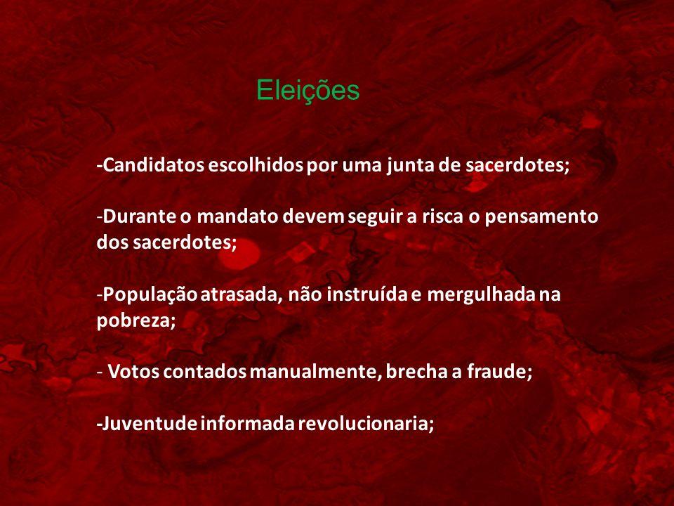 Eleições -Candidatos escolhidos por uma junta de sacerdotes;