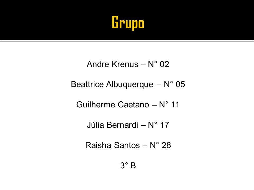 Grupo Andre Krenus – N° 02 Beattrice Albuquerque – N° 05 Guilherme Caetano – N° 11 Júlia Bernardi – N° 17 Raisha Santos – N° 28 3° B