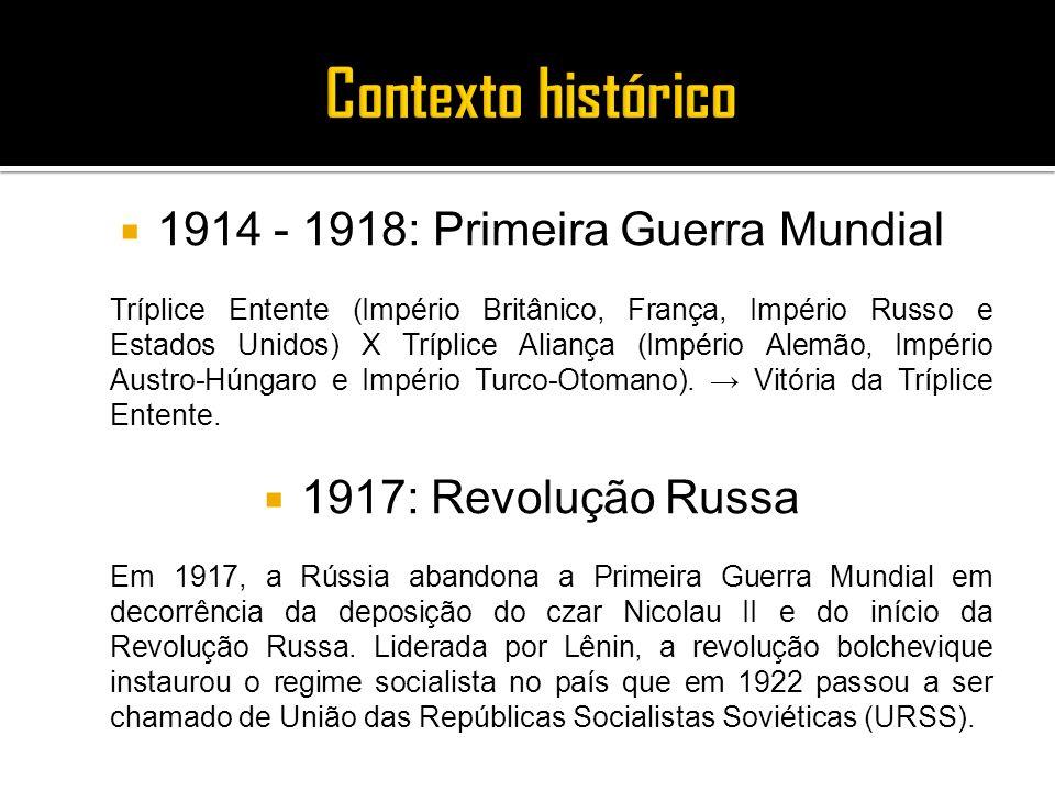 1914 - 1918: Primeira Guerra Mundial
