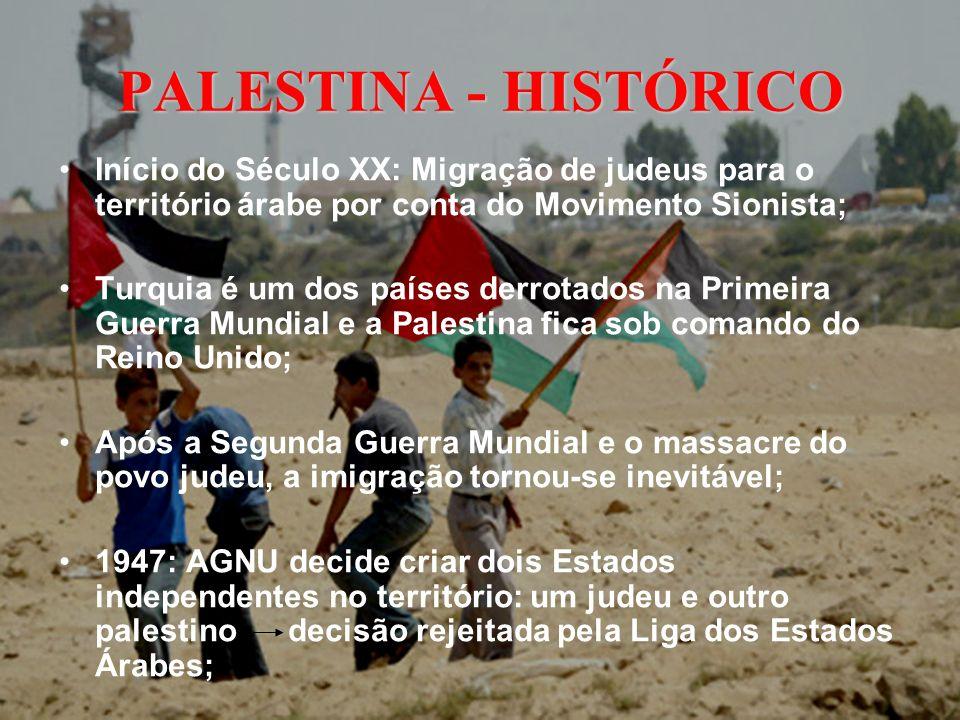 PALESTINA - HISTÓRICO Início do Século XX: Migração de judeus para o território árabe por conta do Movimento Sionista;
