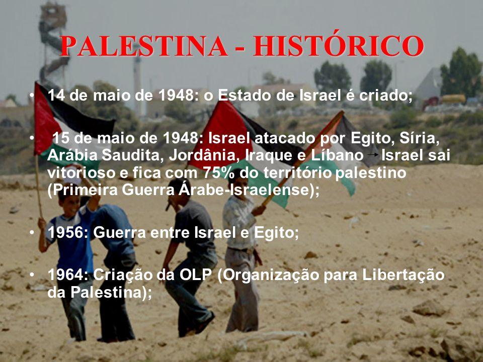 PALESTINA - HISTÓRICO 14 de maio de 1948: o Estado de Israel é criado;
