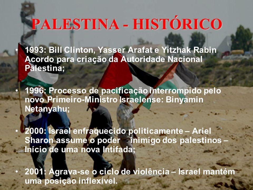PALESTINA - HISTÓRICO 1993: Bill Clinton, Yasser Arafat e Yitzhak Rabin Acordo para criação da Autoridade Nacional Palestina;