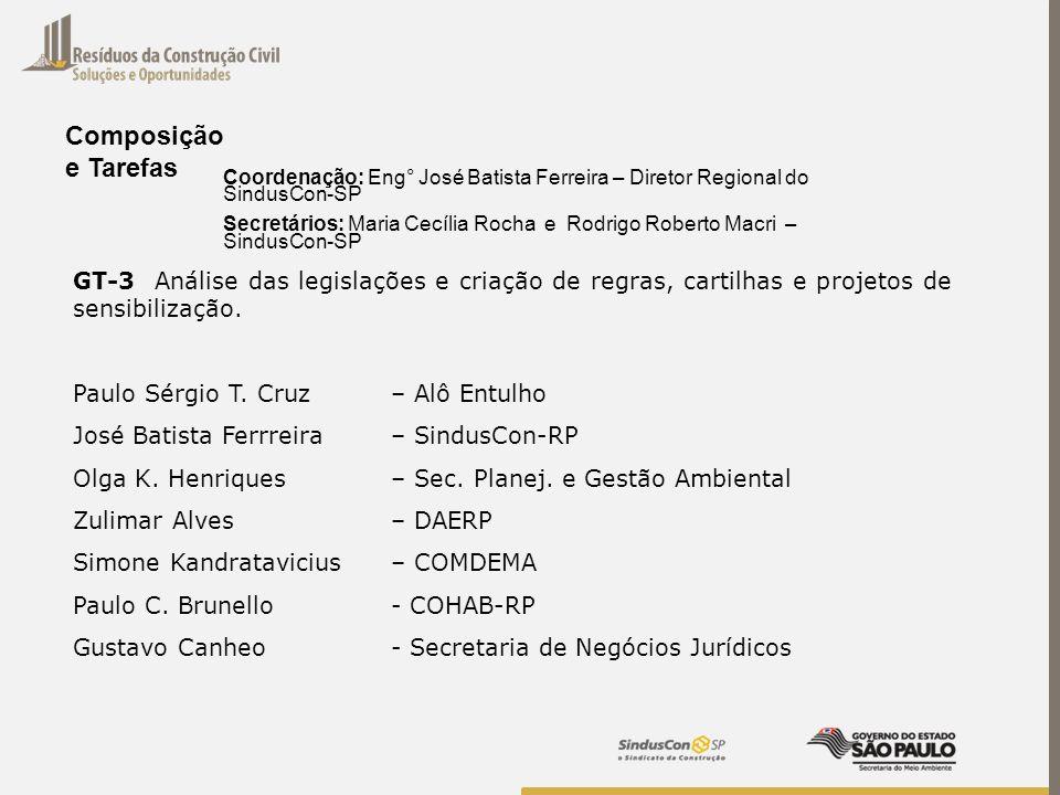 Composição e Tarefas. Coordenação: Eng° José Batista Ferreira – Diretor Regional do SindusCon-SP.