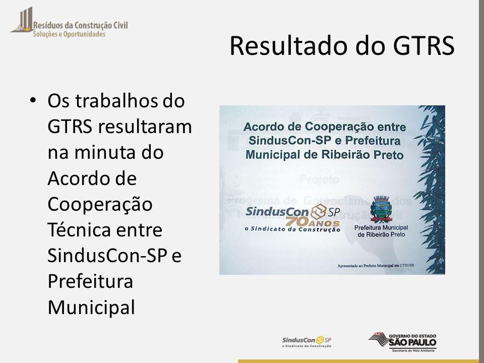 Resultado do GTRS Os trabalhos do GTRS resultaram na minuta do Acordo de Cooperação Técnica entre SindusCon-SP e Prefeitura Municipal.