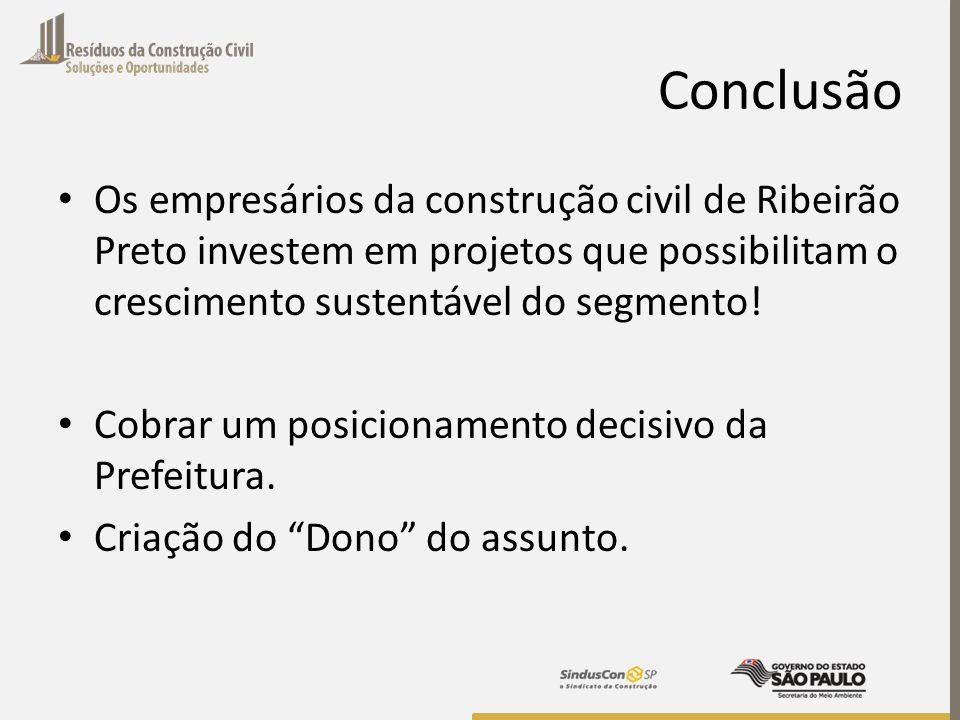 Conclusão Os empresários da construção civil de Ribeirão Preto investem em projetos que possibilitam o crescimento sustentável do segmento!