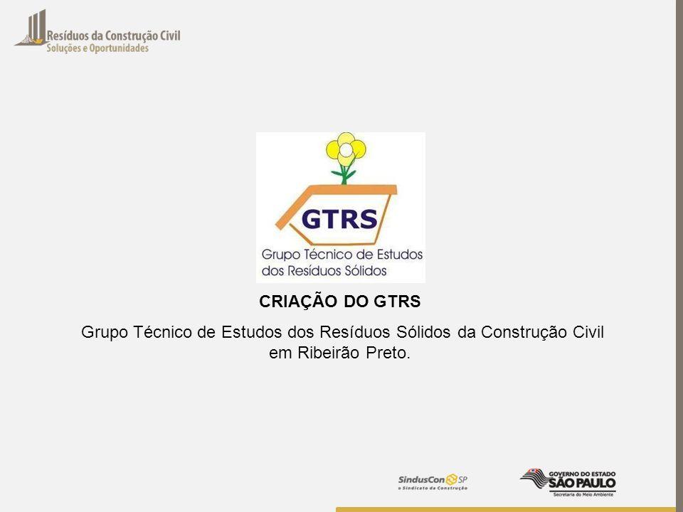CRIAÇÃO DO GTRSGrupo Técnico de Estudos dos Resíduos Sólidos da Construção Civil em Ribeirão Preto.