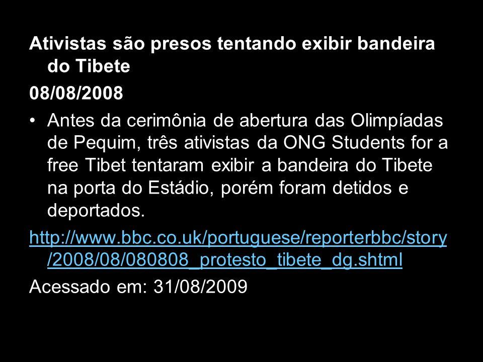 Ativistas são presos tentando exibir bandeira do Tibete