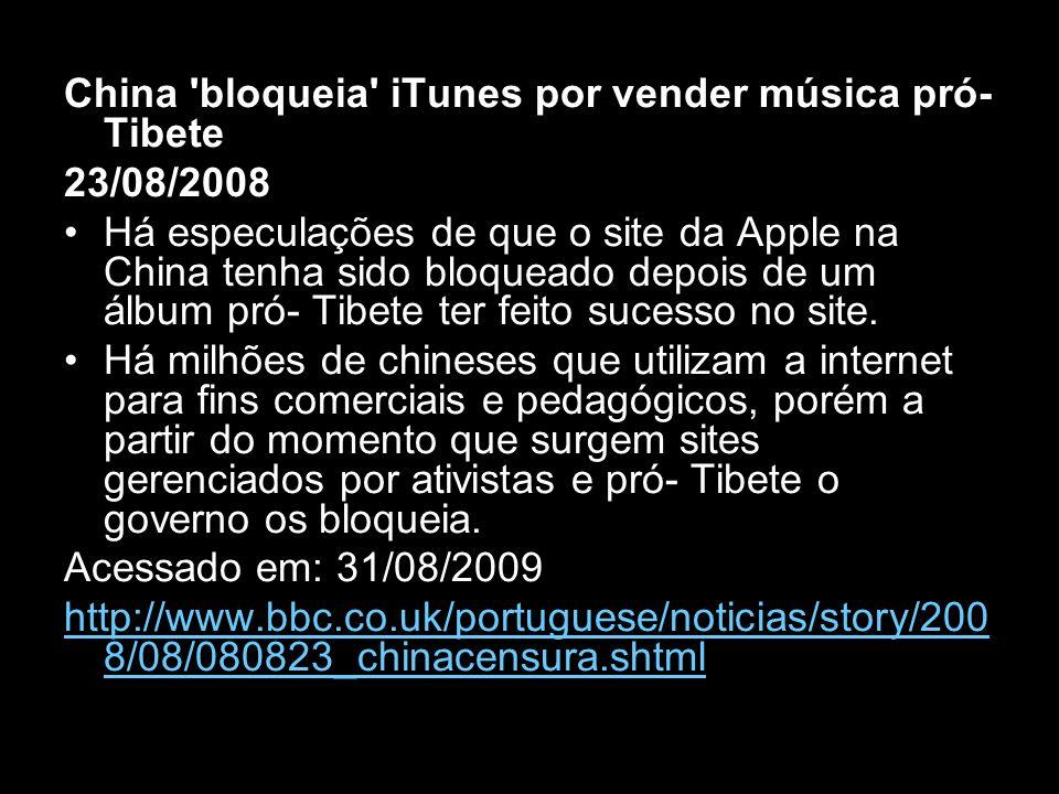 China bloqueia iTunes por vender música pró-Tibete