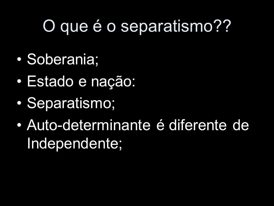 O que é o separatismo Soberania; Estado e nação: Separatismo;