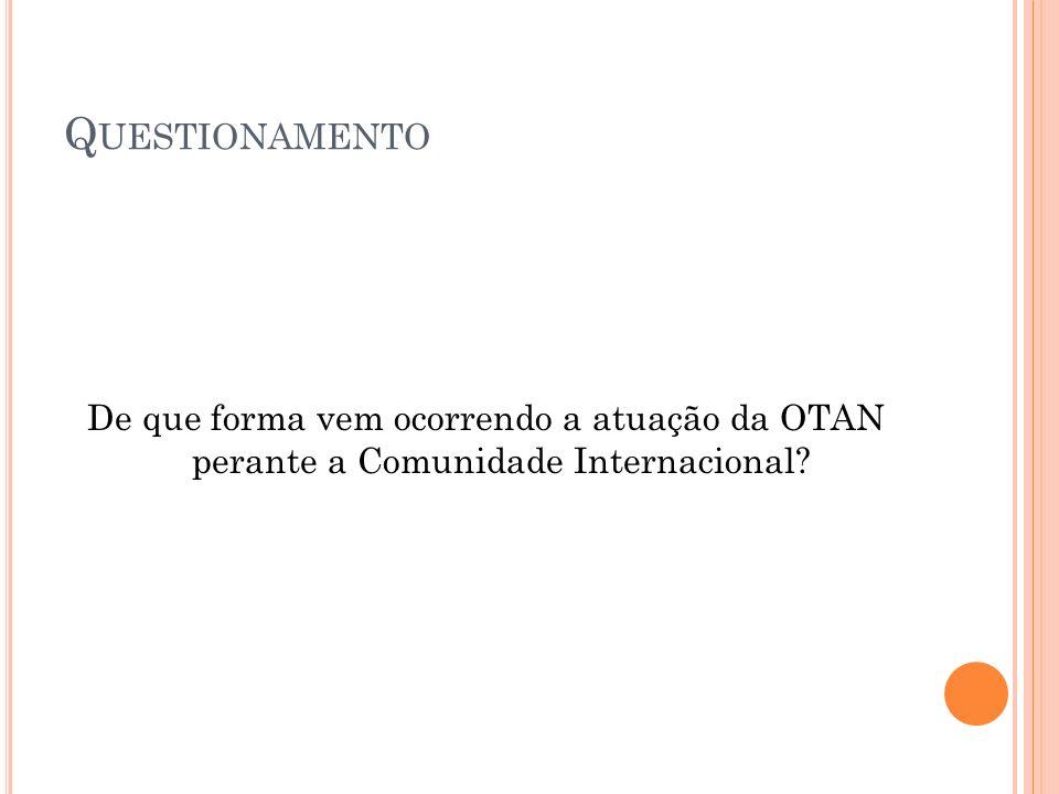 Questionamento De que forma vem ocorrendo a atuação da OTAN perante a Comunidade Internacional