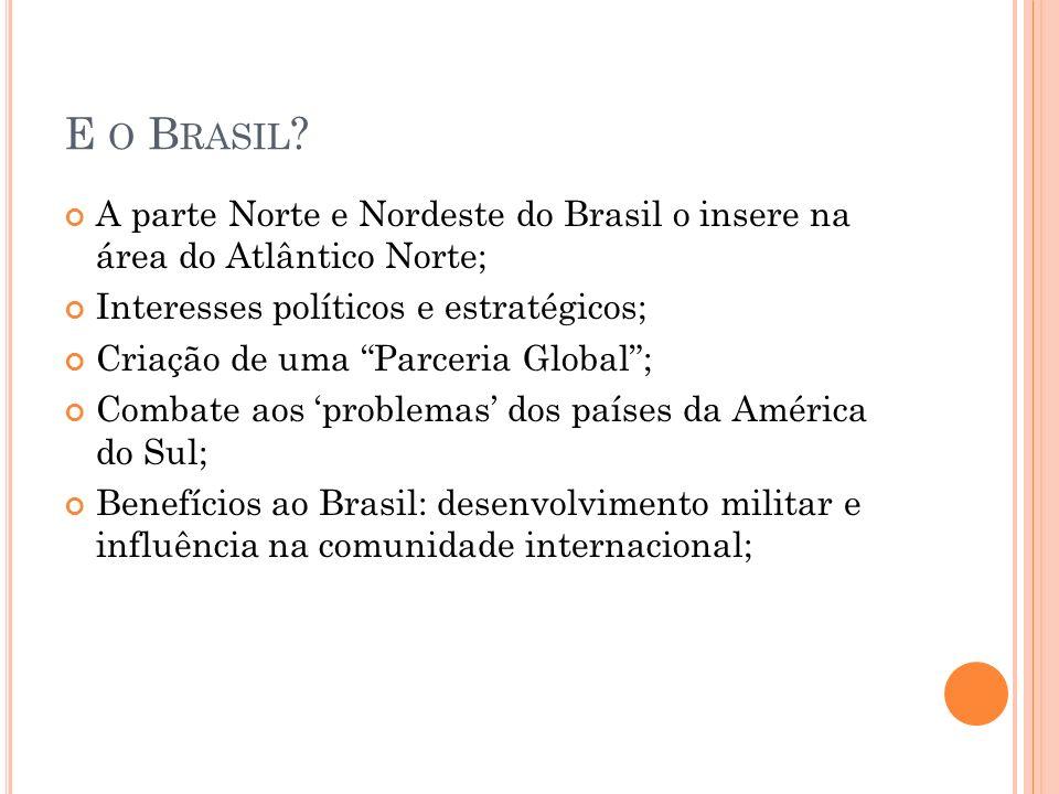 E o Brasil A parte Norte e Nordeste do Brasil o insere na área do Atlântico Norte; Interesses políticos e estratégicos;