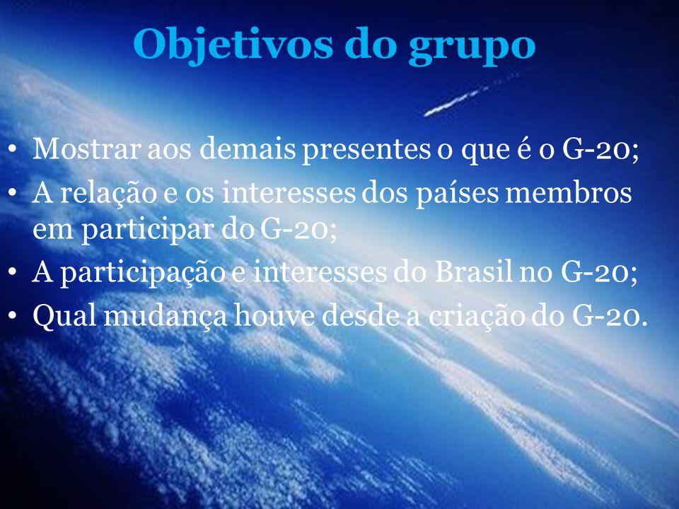 Objetivos do grupo Mostrar aos demais presentes o que é o G-20;