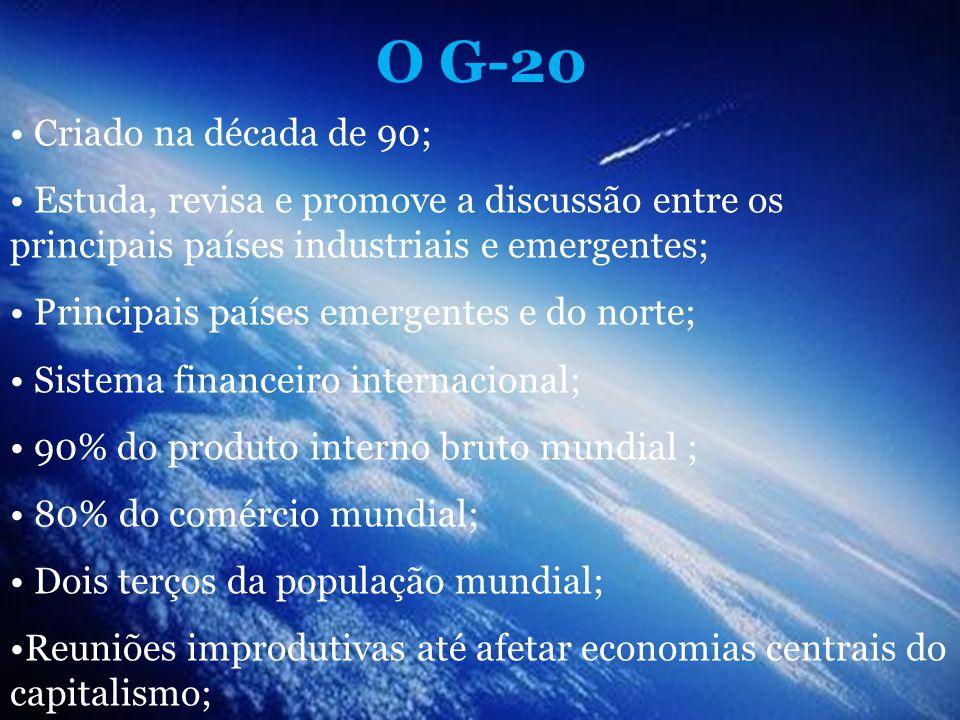 O G-20 Criado na década de 90;