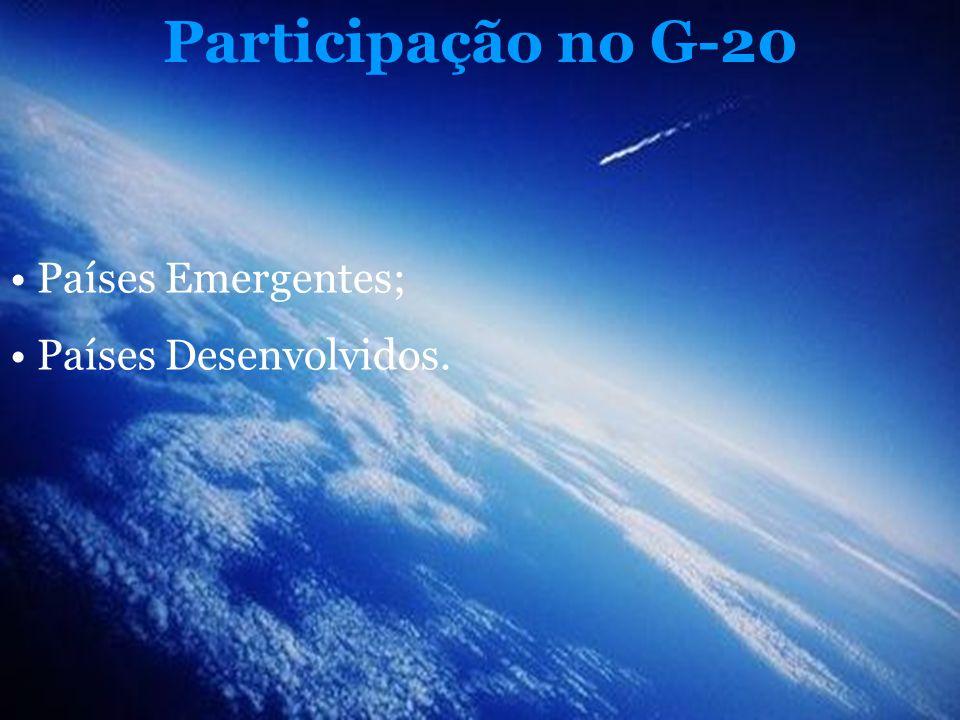 Participação no G-20 Países Emergentes; Países Desenvolvidos.