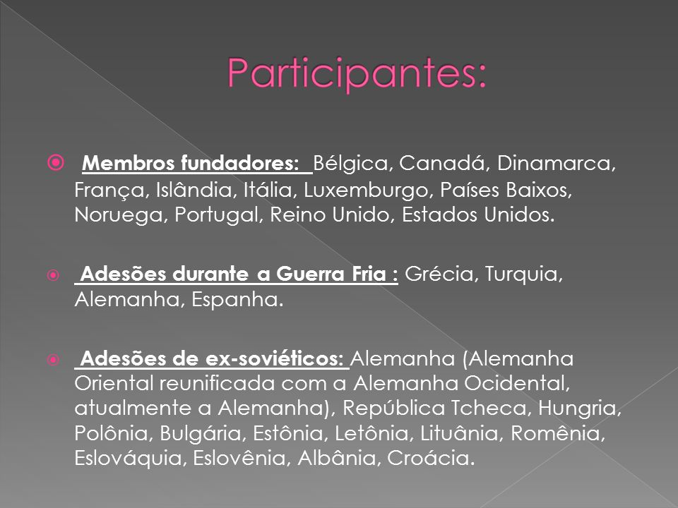 Membros fundadores: Bélgica, Canadá, Dinamarca, França, Islândia, Itália, Luxemburgo, Países Baixos, Noruega, Portugal, Reino Unido, Estados Unidos.
