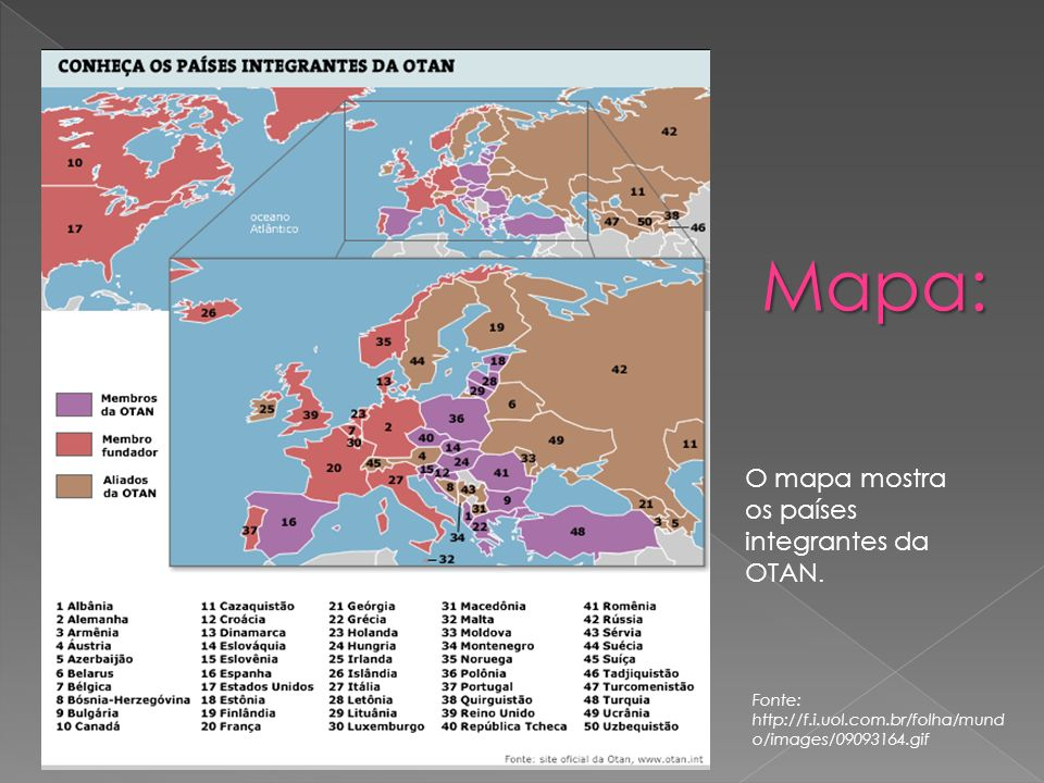 Mapa: Mapa: O mapa mostra os países integrantes da OTAN.