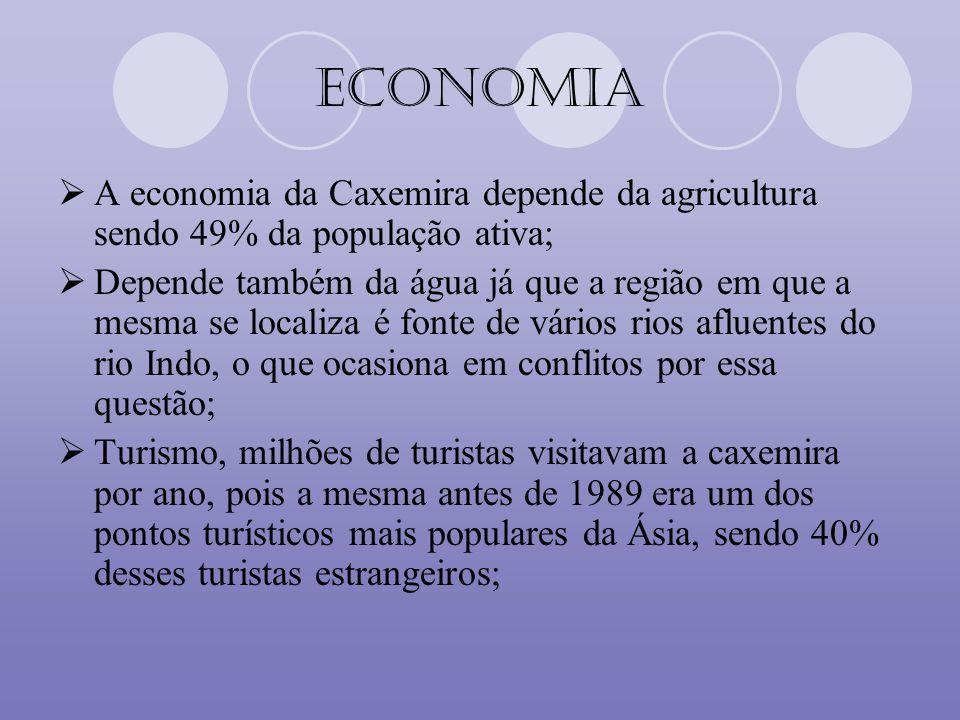 Economia A economia da Caxemira depende da agricultura sendo 49% da população ativa;