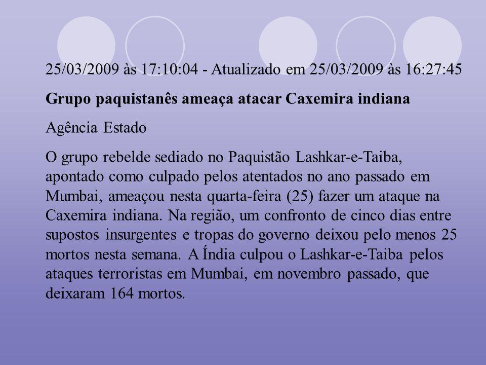 25/03/2009 às 17:10:04 - Atualizado em 25/03/2009 às 16:27:45