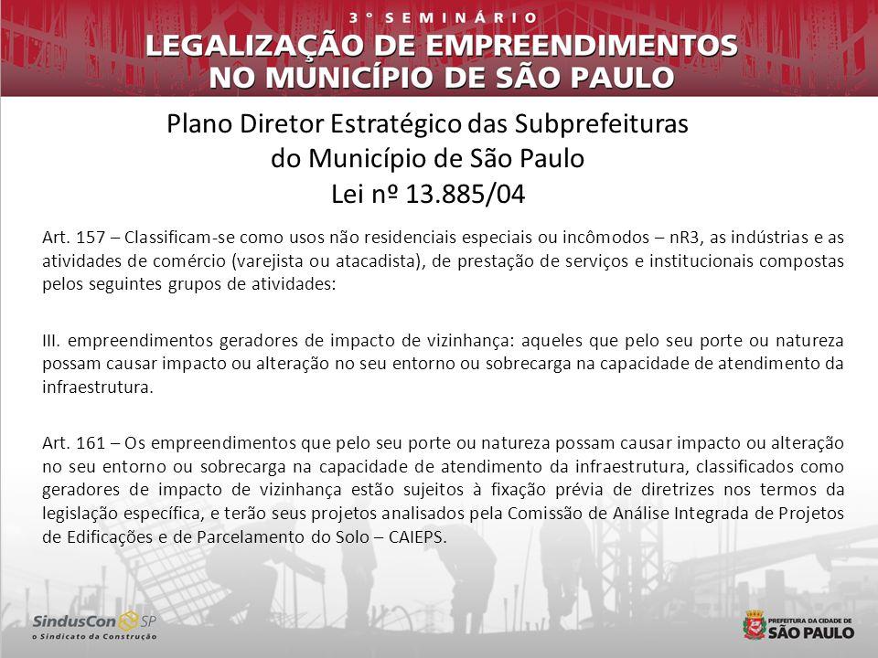 Plano Diretor Estratégico das Subprefeituras do Município de São Paulo Lei nº 13.885/04