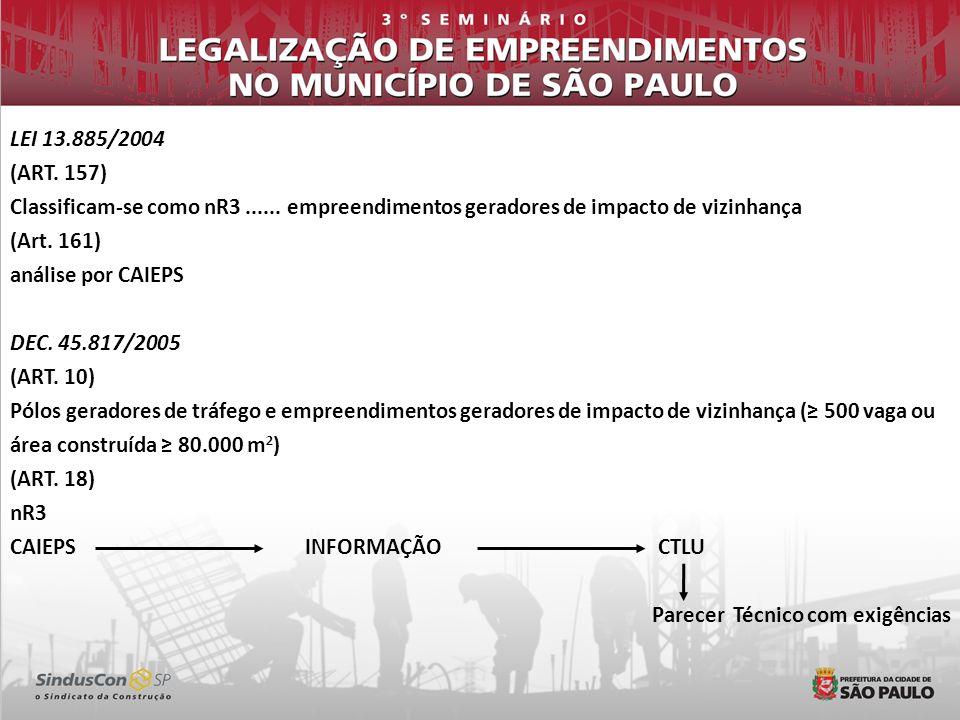 LEI 13.885/2004 (ART. 157) Classificam-se como nR3 ...... empreendimentos geradores de impacto de vizinhança.