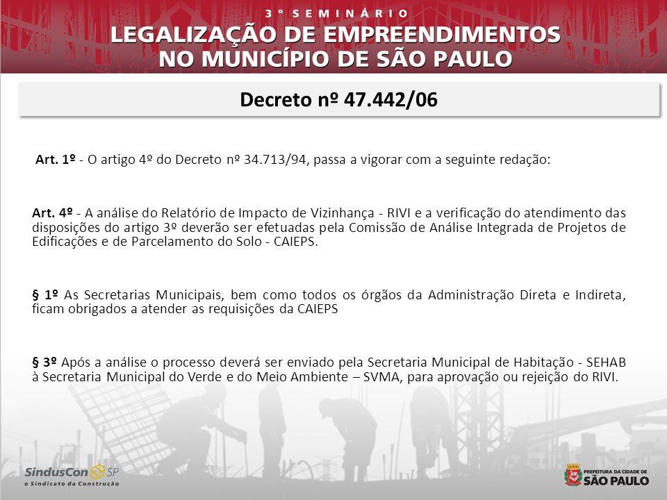 Decreto nº 47.442/06Art. 1º - O artigo 4º do Decreto nº 34.713/94, passa a vigorar com a seguinte redação: