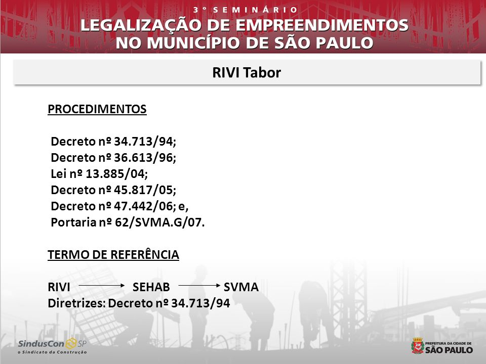 RIVI Tabor PROCEDIMENTOS Decreto nº 34.713/94; Decreto nº 36.613/96;