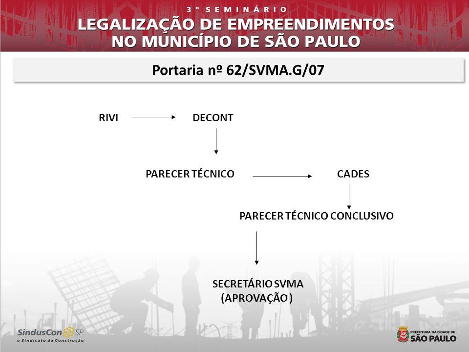Portaria nº 62/SVMA.G/07 RIVI DECONT PARECER TÉCNICO CADES