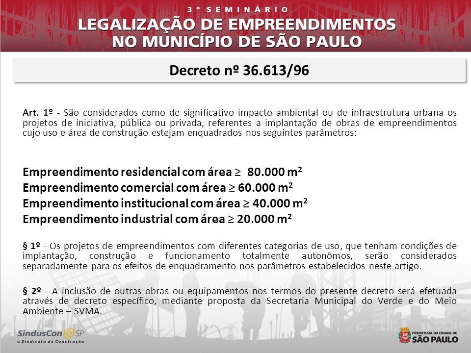 Decreto nº 36.613/96 Empreendimento comercial com área ≥ 60.000 m2