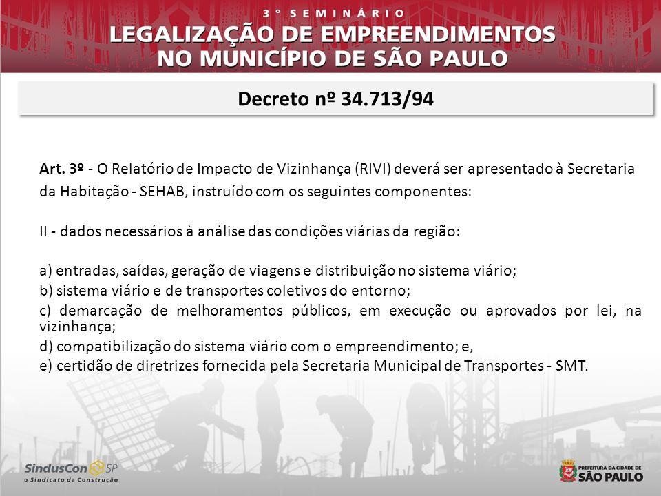 Decreto nº 34.713/94Art. 3º - O Relatório de Impacto de Vizinhança (RIVI) deverá ser apresentado à Secretaria.