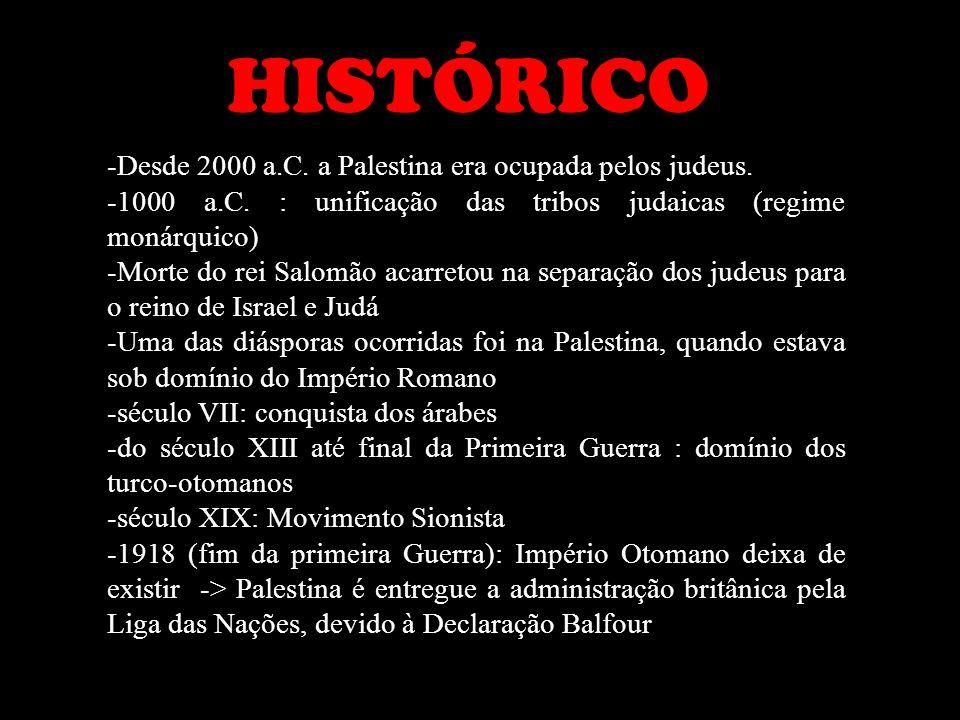 HISTÓRICO -Desde 2000 a.C. a Palestina era ocupada pelos judeus.