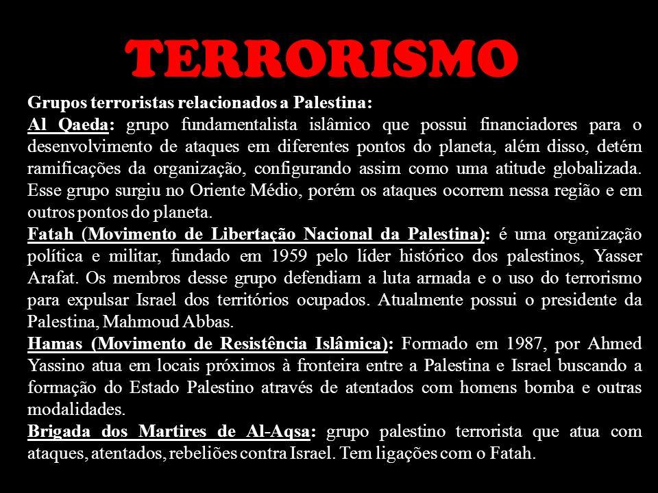 TERRORISMO Grupos terroristas relacionados a Palestina: