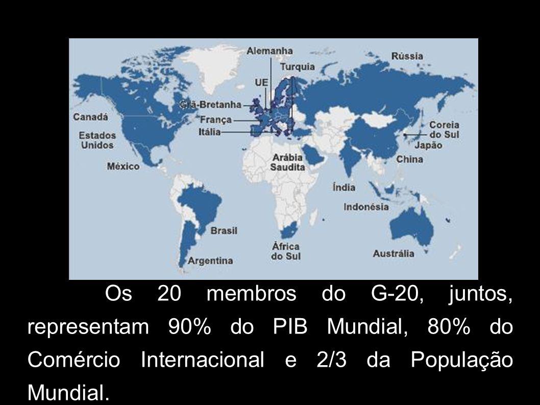 Os 20 membros do G-20, juntos, representam 90% do PIB Mundial, 80% do Comércio Internacional e 2/3 da População Mundial.