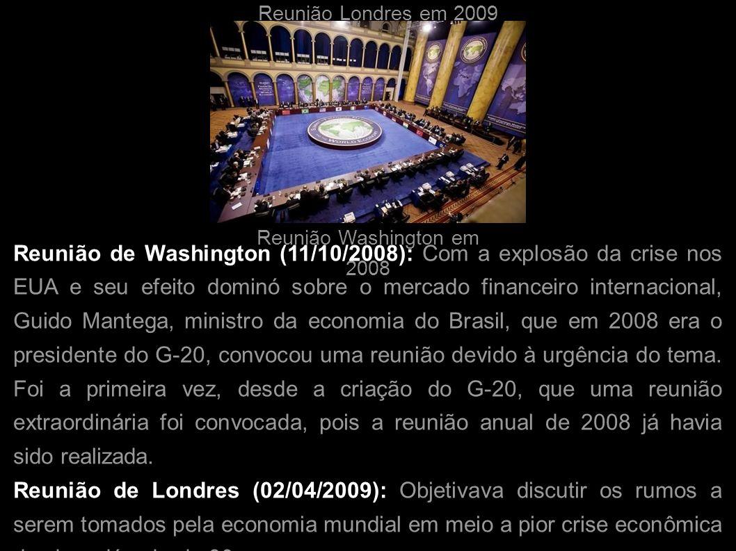 Reunião Londres em 2009 Reunião Washington em 2008.