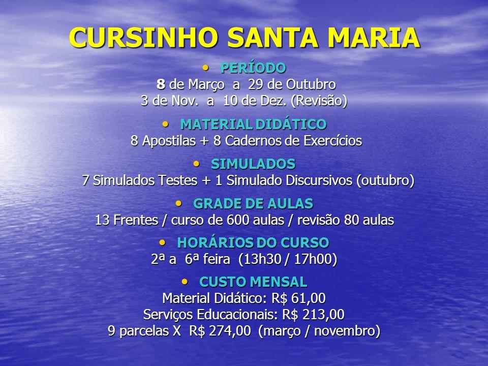 CURSINHO SANTA MARIA PERÍODO 8 de Março a 29 de Outubro