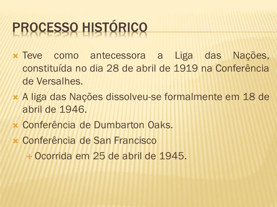 Processo históricoTeve como antecessora a Liga das Nações, constituída no dia 28 de abril de 1919 na Conferência de Versalhes.
