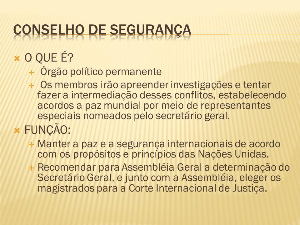 Conselho de segurança O QUE É FUNÇÃO: Órgão político permanente