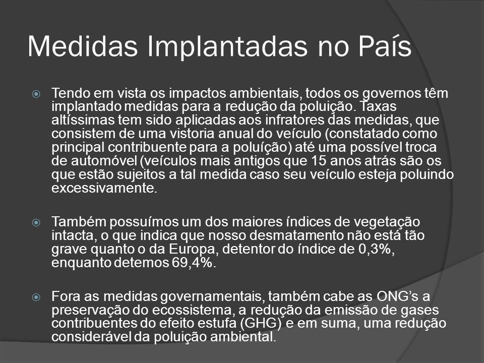 Medidas Implantadas no País